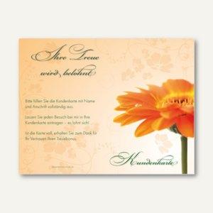 officio Kundenkarte GERBERA, 110 x 85 mm, Klappkarte, zum Stempeln, 50 Stück