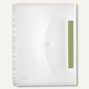 Index-Sichttasche A4,Abheftrand,Dehnfalte,PP,Klett,matt transp.,10St., 40166-04