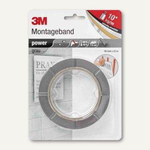 """3M Montageband """"power"""", doppelseitig, bis 10kg/qm, 19 mm x 5 m, grau, 8888195"""