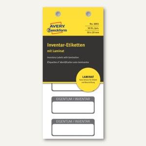 Etiketten mit Laminat, EIGENTUM / INVENTAR, 50x20mm, schwarz, 50 Stück, 6901
