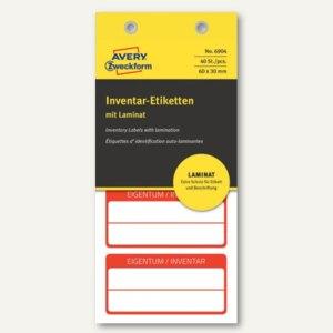 Etiketten mit Laminat, EIGENTUM / INVENTAR, 60x30mm, rot, 40 Stück, 6904