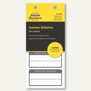 Etiketten mit Laminat, EIGENTUM / INVENTAR, 60x30mm, schwarz, 40 Stück, 6903