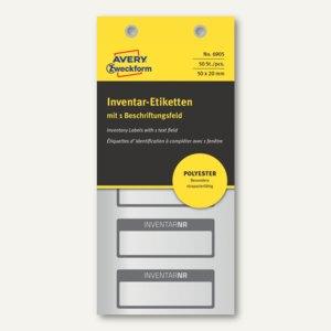 Etiketten INVENTARNR, 50x20mm, silber Polyesterfolie, 1 Zeile, schwarz, 50 St.