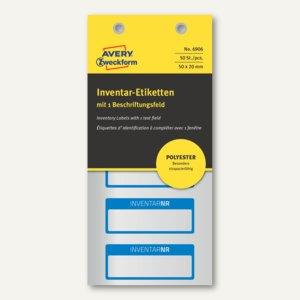 Etiketten INVENTARNR, 50x20mm, silber Polyesterfolie, 1 Zeile, blau, 50 St., 690