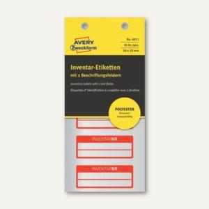 Etiketten INVENTARNR, 50x20mm, silber Polyesterfolie, 2 Zeilen, rot, 50 St., 691