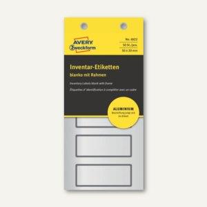 Etiketten blanko mit Rahmen, 50x20mm, Aluminium, schwarz, 50 Stück, 6922