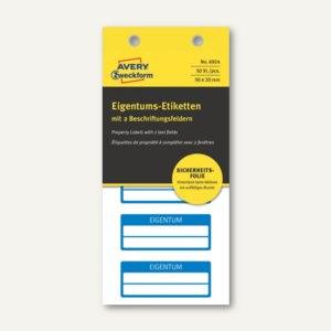 Etiketten EIGENTUM, fälschungssicher, 50 x 20 mm, 2 Zeilen, blau, 50 Stück, 6924