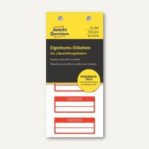 Etiketten EIGENTUM, fälschungssicher, 50 x 20 mm, 2 Zeilen, rot, 50 Stück, 6925