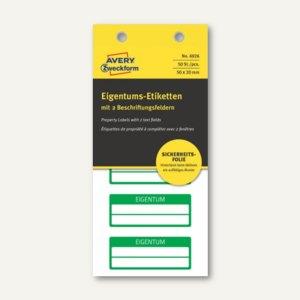 Etiketten EIGENTUM, 50x20mm, fälschungssicher, 2 Zeilen, grün, 50 Stück, 6926