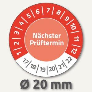 Prüfplakette NÄCHSTER PRÜFTERMIN, 2017-2022, Ø 20, Vinyl, rot, 120 Stück, 6927