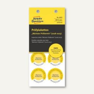 Prüfplakette NÄCHSTER PRÜFTERMIN, 2018-2023, Ø 30, Vinyl, gelb, 80 Stück, 6932