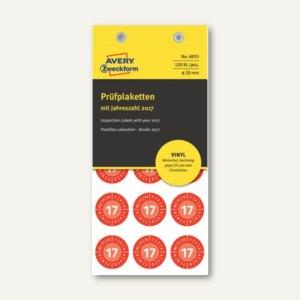 Zweckform Prüfplaketten 2017 mit Monaten, Ø 20, Vinyl, rot, 120 Stück, 6935
