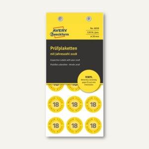 Zweckform Prüfplaketten 2018 mit Monaten, Ø 20, Vinyl, gelb, 120 Stück, 6939