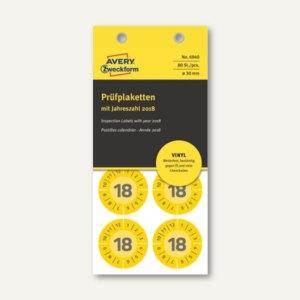 Zweckform Prüfplaketten 2018 mit Monaten, Ø 30, Vinyl, gelb, 80 Stück, 6940