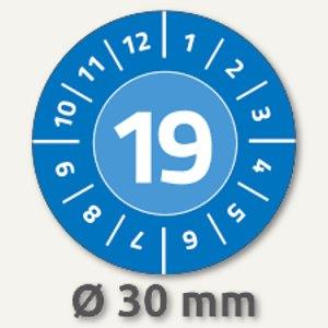 Zweckform Prüfplaketten 2019 mit Monaten, Ø 30, Vinyl, blau, 80 Stück, 6944