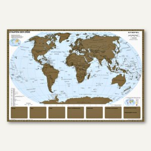 Artikelbild: Weltkarte zum Freirubbeln mit Metallleisten