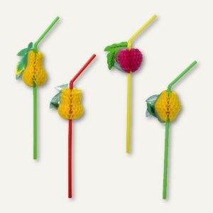 Artikelbild: Deko-Trinkhalme Früchte flexibel