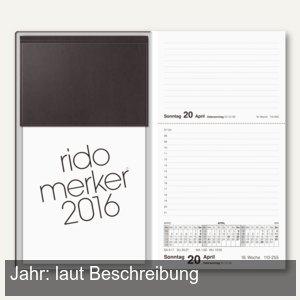 rido-idé Dohse Tischkalender rido-merker, 21 x 12,4 cm, schwarz, 703500390