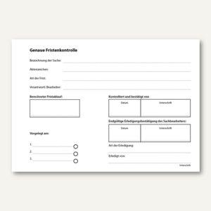Artikelbild: Formular Fristenkontrolle