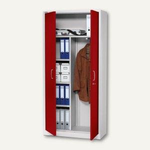 Artikelbild: Flügeltüren-Stahlschrank 195x92x42 cm 30 Ordner+Garderobe 4 Böden 53kg grau/rot