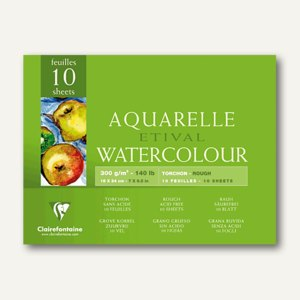 Clairefontaine Etival Aquarellblock, 18 x 24 cm, rauh, 250 g/m², 10 Blatt,96560C