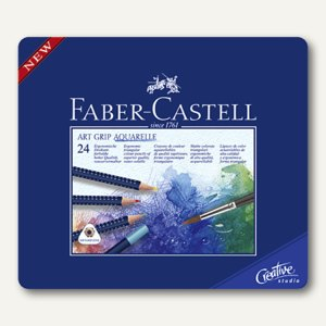 Faber-Castell Farbstift ART GRIP AQUA, sortiert, 24er Metalletui, 114224