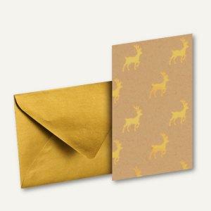 GOLDEN REINDEER Doppelkarte A7 + Umschlag DIN C7