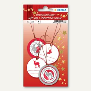 Artikelbild: 3D Weihnachts-Geschenkanhänger rot/silber