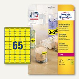 Neon-Etiketten, wiederablösbar, 38.1 x 21.2 mm, gelb, 1.625 St., L7651Y-25