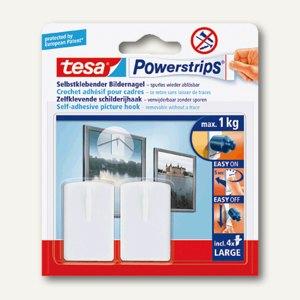 tesa powerstrips bildernagel bis 1 kg wei 2er pack 58031 00020 b robedarf bei. Black Bedroom Furniture Sets. Home Design Ideas