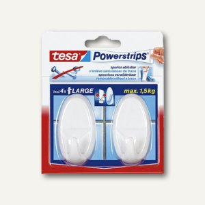 Tesa Powerstrips Selbstklebehaken, bis 1.5 kg, weiß, 2er Pack, 58013-00049