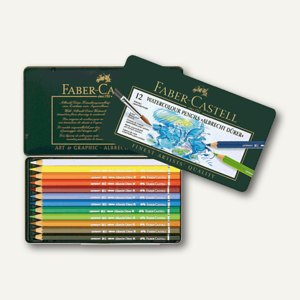 Faber-Castell Aquarell Farbstifte, Metalletui, 12er Pack, 117512