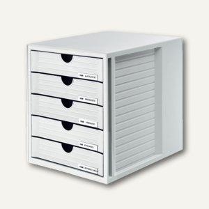 HAN Schubladenbox SYSTEMBOX, DIN C4, 5 geschlossene Schübe, lichtgrau, 1450-11