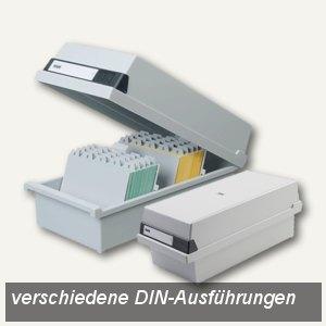 HAN Karteikasten DIN A7 quer für 1.300 Karten, Deckel abnehmbar, grau, 957-11