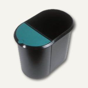 Helit Duo-System-Papierkorb, 20 und 9 Liter, schwarz/grün, H61039.94