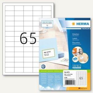 """Herma Etiketten """"Premium"""", DIN A4, 38.1 x 21.2 mm, Rand, weiß, 6.500 St., 4270"""