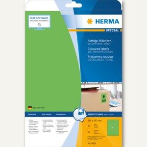 """Herma Etiketten """"SPECIAL"""", DIN A4, 210 x 297 mm, ablösbar, grün/matt, 20St.,4424"""