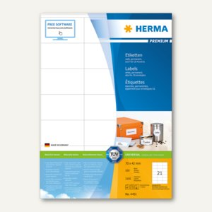 """Herma Etiketten """"Premium"""", DIN A4, 70 x 42 mm, weiß, 2.100 Stück, 4451"""