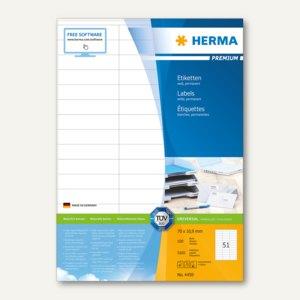 """Herma Etiketten """"Premium"""", DIN A4, 70 x 16.9 mm, weiß, 5.100 St., 4459"""