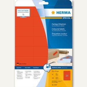 """Herma Etiketten """"SPECIAL"""", DIN A4, 70x37 mm, rot/matt, 480 Stück, 4467"""