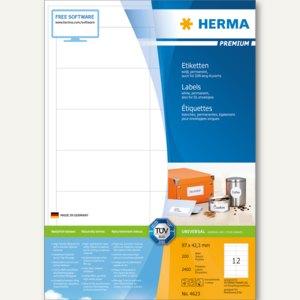 """Etiketten """"Premium"""", DIN A4, 97 x 42.3 mm, permanent, weiß, 2.400 Stück, 4623"""