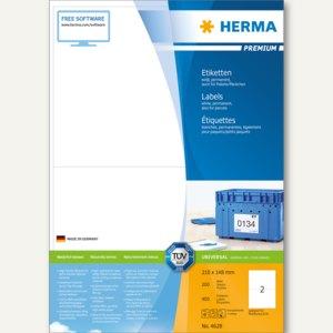 """Herma Etiketten """"Premium"""", DIN A4, 210 x 148 mm, permanent, weiß, 400 Stück,4628"""