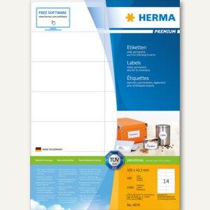 """Etiketten """"Premium"""", DIN A4, 105 x 42.3 mm, permanent, weiß, 1.400 Stück, 4674"""