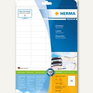"""Etiketten """"Premium"""", DIN A4, 52.5 x 21.2 mm, permanent, weiß, 1.400 Stück, 5052"""