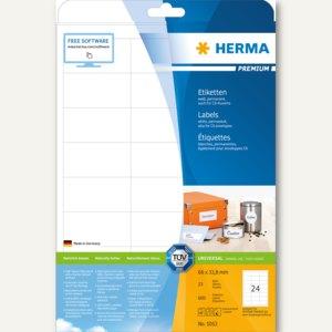 """Herma Etiketten """"Premium"""", DIN A4, 66 x 33.8 mm, permanent, weiß, 600 Stück,5053"""