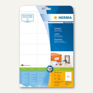 """Herma Etiketten """"Premium"""", DIN A4, 70 x 42,3 mm, weiß, 525 Stück, 5054"""