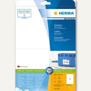 """Herma Etiketten """"Premium"""", DIN A4, 210 x 148 mm, permanent, weiß, 50 Stück, 5064"""