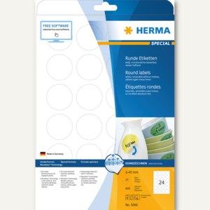 """Herma Etiketten """"Movables"""", ablösbar, rund Ø 40 mm, weiß, 600 Stück, 5066"""