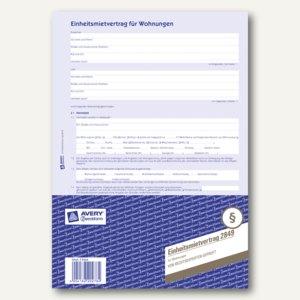 Zweckform Einheitsmietvertrag für Wohnungen, 4-seitig, 50 Sätze, 2849