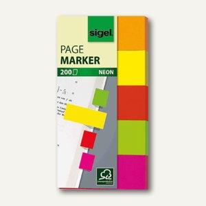 Sigel Haftmarker Neon, 20 x 50 mm, 5 Farben sortiert, 5 x 40 Blatt, HN650